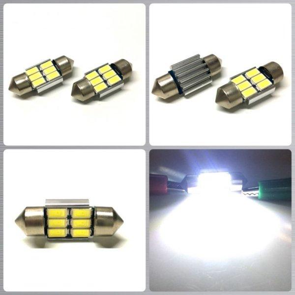画像1: Canbus 6連 5730SMD LED キャンセラー内蔵 T10×31 2個セット (1)